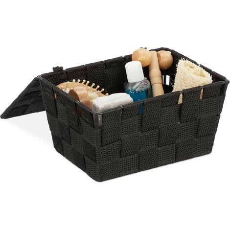 Relaxdays Lidded Storage Basket with Lid, Bathroom Storage, PP, HxWxD: 10.5 x 19.5 x 14.5 cm, Black