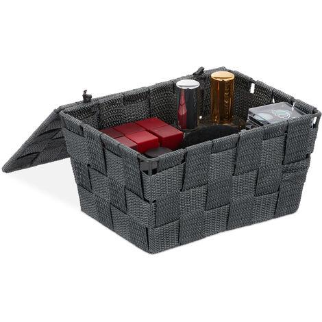 Relaxdays Lidded Storage Basket with Lid, Bathroom Storage, PP, HxWxD: 10.5 x 19.5 x 14.5 cm, Grey