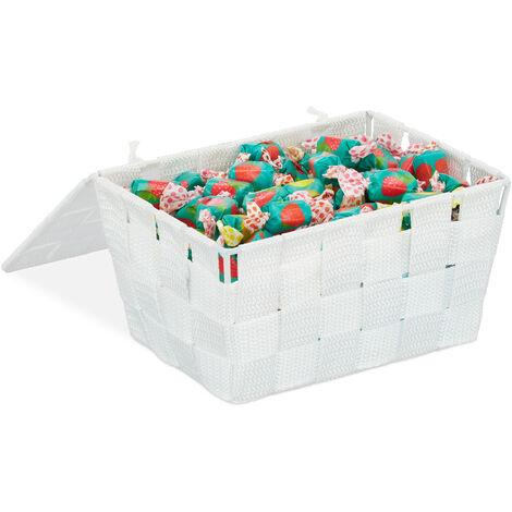 Relaxdays Lidded Storage Basket with Lid, Bathroom Storage, PP, HxWxD: 10.5 x 19.5 x 14.5 cm, White