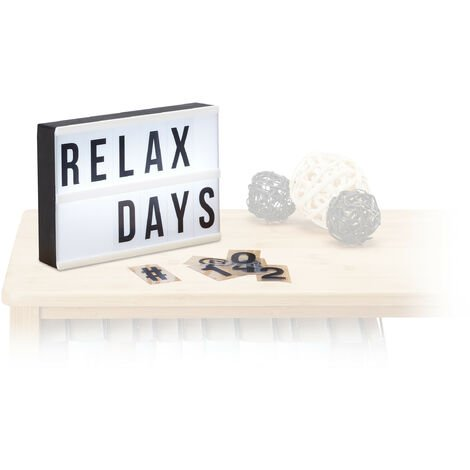 Relaxdays Light Box with Letters, 60 Characters, LED Light Board, White Light, H x W x D: 15 x 21 x 4 cm, White/Black