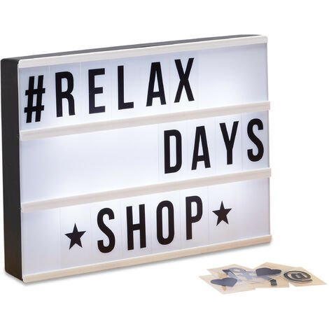 Relaxdays Light Box with Letters, 85 Characters, LED Light Board, USB Input, White Light, H x W x D: 22 x 30 x 4.5 cm, White/Black