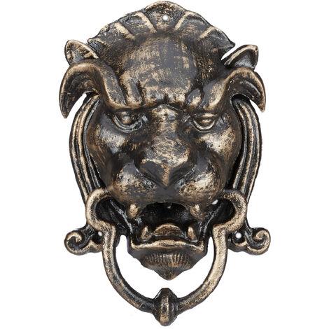 Relaxdays Lion Door Knocker, Antique, Cast Iron, Knocking Ring, Heavy for Front Door, HxWxD: ca 25 x 16 x 11 cm, Bronze