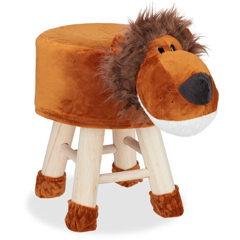 Relaxdays Lion Foot Stool, Decorative Vanity Stool, Removable Cover, Wooden Legs, Padded, Brown