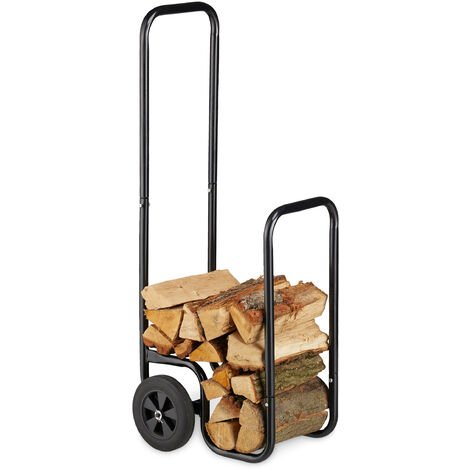 Relaxdays Log Cart, Steel Firewood Trolley, With 2 Wheels, Fireplace Wood Transport & Storage, Up To 60 kg, Black