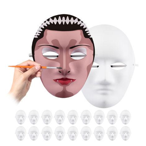 Relaxdays Lot de 20 masques, personnaliser et peindre, carnaval, carton, visage H x L x P 24 x 18,5 x 8 cm, blanc