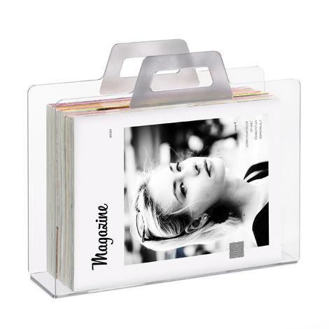 Relaxdays Magazine Rack & Newspaper Basket, Catalogue Holder, 2 Handles, Acrylic, HxWxD 29x33x10cm, Transparent, Silver