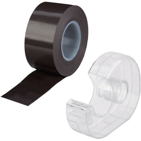 Relaxdays Magnetic Adhesive Tape, 5 m, Self-Adhesive Strip, For Whiteboards & Fridge, Black