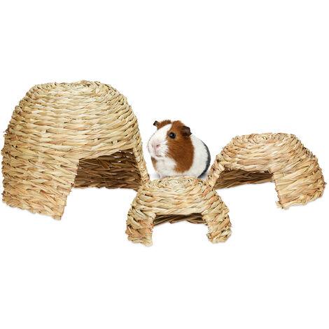 Relaxdays Maison pour petits animaux, lot de 3, abri en herbe pour lapins, cochon d'Inde, hamster, trois tailles, nature