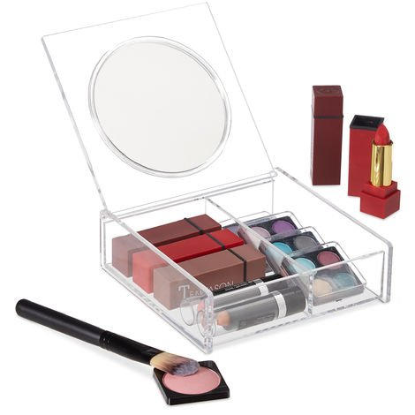 Relaxdays Make-Up Organiser, Lid with Mirror, 2 Compartments, Cosmetics Box, Acrylic Organiser, Clear