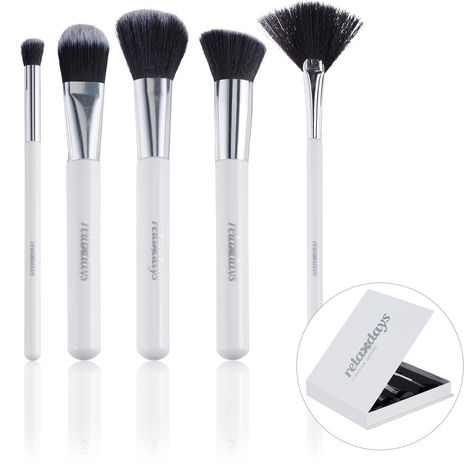 Relaxdays Makeup Brushes, Cosmetic Set of 5, Elegant Storage Box, For Rouge, Highlighter, Contour, Powder, White