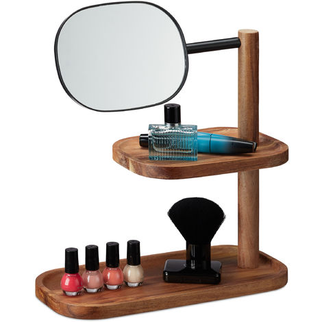 Relaxdays Makeup Mirror, 2 Tiers, Wood, Metal, Swivelling, Tabletop, Bedroom, Bath, H x W x D 34x30x14cm, Natural/Black
