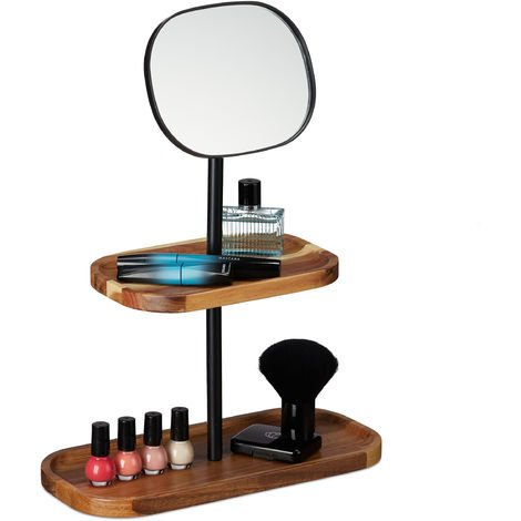 Relaxdays Makeup Mirror, 2 Wooden Tiers, Adjustable Size, Bathroom, Bedroom, Hallway, 40x30x14 cm, Natural/Black