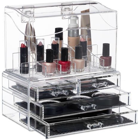 Relaxdays Makeup Organiser, 4 Drawers, Acrylic Cosmetic Box with Lid, Lipstick Holder, 18 Compartments, Transparent