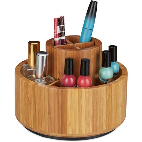 Relaxdays Makeup Organiser, Bamboo, 360° Rotatable, Round, For Brush, Lipstick & Cosmetics, Pen Holder, D: 20cm, Natural