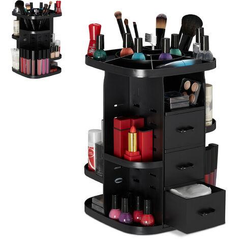 Relaxdays Makeup Organiser, Beauty Brush Holder & Drawers, 360° Rotating, Cosmetic & Jewellery Box, Black