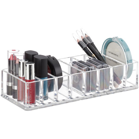 Relaxdays Makeup Organiser, Plastic Storage with 8 Compartments, Cosmetics, H x W x D: 4.5 x 22 x 8.5 cm, Transparent