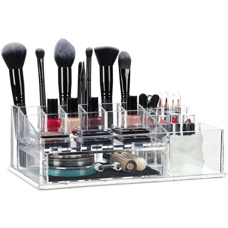 Relaxdays Makeup Organiser with Drawer, Acrylic Storage Box for Cosmetics and Jewellery, Lipstick Holder, Transparent