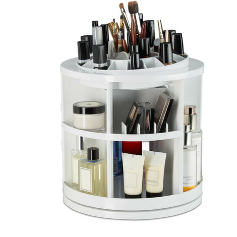 Relaxdays Makeup Organizer, 360°Rotating Cosmetics Holder Carousel, Acrylic Makeup Tower with 38 Compartments, Lipstick Holder, White