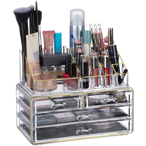 Relaxdays Makeup Organizer with 4 Drawers, Cosmetics Holder for Nail Polish and Lipstick, Acrylic Makeup Kit, Golden Stripes