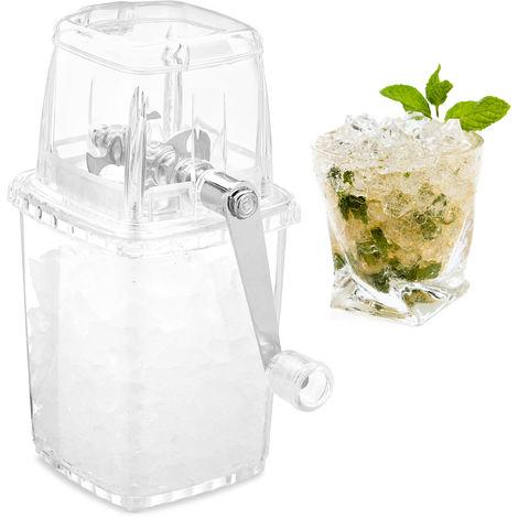 Relaxdays Manual Ice Crusher, Metallic Crank Handle & Grinder, Plastic Ice Cube Chopper, Transparent