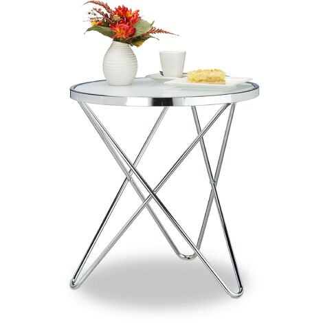 Relaxdays Medium Glass Side Table, Chrome, Frosted Glass, Couch Table, Coffee Table, Steel, HxWxD: 57 x 54 x 54 cm, Silver