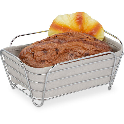 """main image of """"Relaxdays metal bread basket with lining, square breakfast basket for bread rolls, 17 x 23.5 x 10 cm, grey"""""""