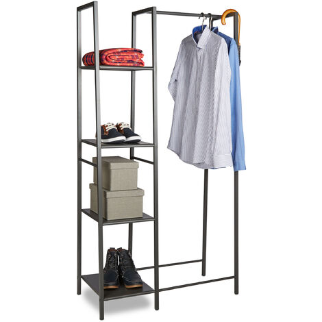 Relaxdays Metal Clothes Stand, Open Wardrobe, Free-standing, 4 Shelves, Garment Rail, HxWxD: 162 x 85 x 40 cm, Grey