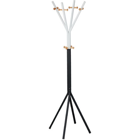 Relaxdays metal coat stand, modern, hat rack, clothes rail, freestanding, 12 hooks, 42 x 42 x 170 cm, black and white