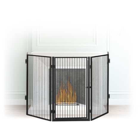 Relaxdays Metal Fireplace Screen, 5-Panel Safety Barrier, Spark Guard for Babies and Pets, Steel, Black