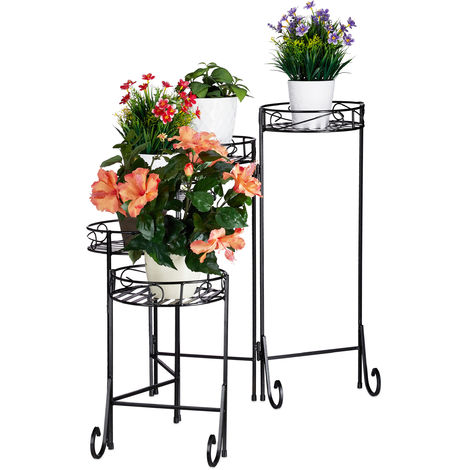 Relaxdays Metal Flower Rack, 5-Tier, Round, In- and Outdoor Use, Vintage Plant Stand, Folding, HWD 65x125x23 cm, Black
