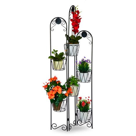 Relaxdays Metal Flower Rack, Paravent for Potted Plants, 6 Tiers, Etagere for In- and Outdoor Use, H 140 cm, Black