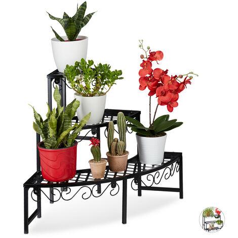 Relaxdays Metal Flower Rack, Plant Shelf, 3 Tiers, Half-Round, Garden Plant Stand for Garden, Balcony or Patio, Black