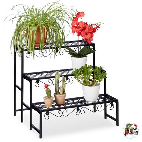 Relaxdays Metal Flower Rack, Plant Shelf, 3 Tiers, Rectangular, Garden Plant Stand for Garden, Balcony or Patio, Black