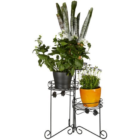 Relaxdays Metal Flower Stand, Powder-Coated, 3 Shelves, Decorative, 50 cm Tall, Plant Stairs, Black