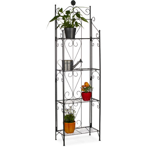 Relaxdays Metal Flower Stand with 4 Shelves, Foldable, Weather-Resistant, Plant Rack, HxWxD: 157 x 44 x 24 cm, Black