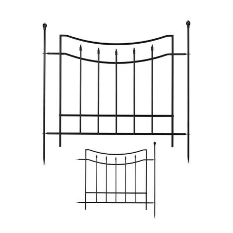 Relaxdays metal garden fence, 2 fence panels, 3 posts, decorative fencing, expandable garden edging, 92x240 cm, black
