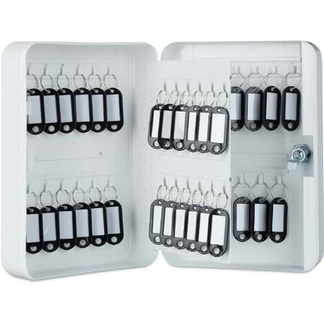 Relaxdays Metal Key Cabinet, Lockable, 48 Hooks with Key Tags, HWD 25x18x7.5 cm, White