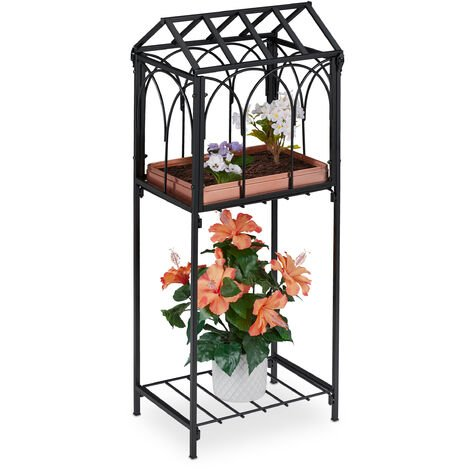 Relaxdays metal plant stand, 2-tiered storage shelving unit, indoors & outdoors, 33.5x23.5x82 cm (LxWxH), vintage, black