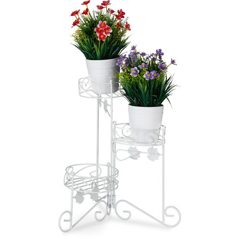 Relaxdays Metal Plant Stand, 3 Tiers, Folding, Decorative Flower Etagere, Vintage, In- & Outdoor Use, H: 40 cm, White
