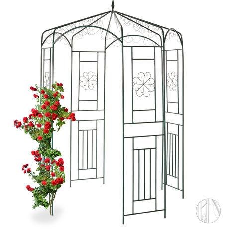 Relaxdays Metal Rose Pavilion, Growth Support, Garden Trellis, HWD 250x160x160cm, Green