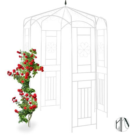 Relaxdays Metal Rose Pavilion, Growth Support, Garden Trellis, HWD 250x160x160cm, White