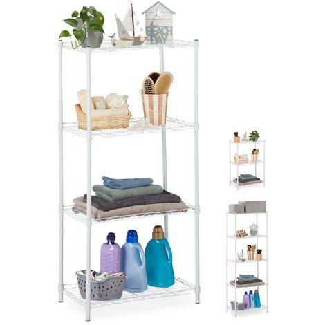 Relaxdays Metal Shelving Unit, Metallic Shelves For Kitchen, Universal, Standing Shelf Unit, HWD 121x56x35cm, White