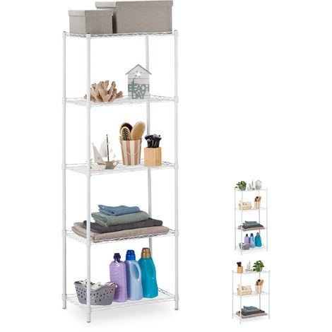Relaxdays Metal Shelving Unit, Metallic Shelves For Kitchen, Universal, Standing Shelf Unit, HWD 158.5x56x35cm, White