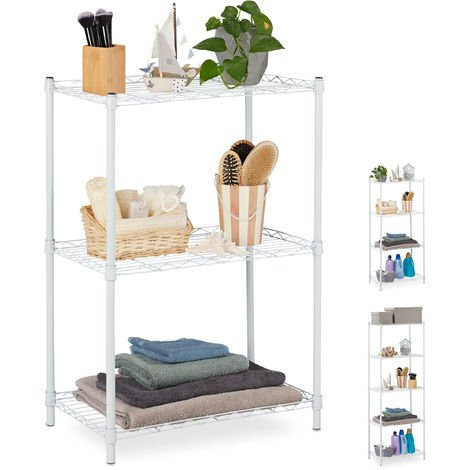 Relaxdays Metal Shelving Unit, Metallic Shelves For Kitchen, Universal, Standing Shelf Unit, HWD 83x56x35cm, White