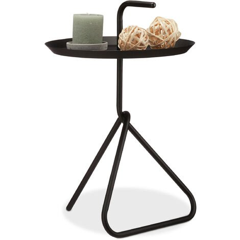 Relaxdays Metal Side Table, Round Storage Tray with Handle, Modern Coffee Table, HxD app. 59 x 40 cm, Black