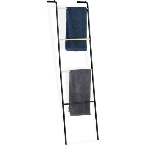 Relaxdays Metal Towel Ladder Rack, 4 Rungs for Washcloths & Clothes, Compact, HxWxD 160x40x26 cm, Black