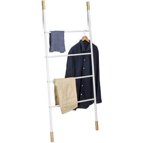 Relaxdays Metal Towel Ladder Rack, 4 Rungs, Freestanding Leaning Laundry Holder, Bamboo, HWD: 150x70x2cm, White