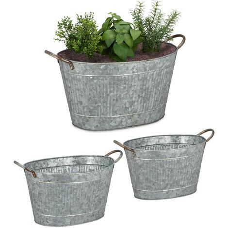 Relaxdays Metal Tub Set Of 3, Oval Planters In Zinc look, Waterproof, Garden,Vintage, 12, 18 & 22 L, Colours