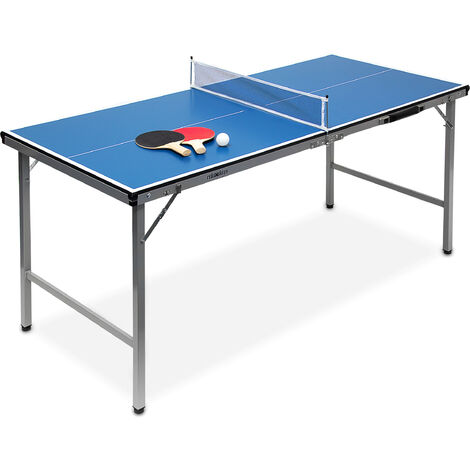 Relaxdays Midi Table Tennis Ping Pong Table, 150 x 67 x 71 cm, Folding Table for Indoor & Outdoor Use, Ball and Paddles Included, Blue