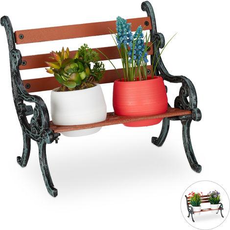 Relaxdays Mini Flower Bench, Wood & Cast Iron, Flower Holder for 2 Pots, Garden Decoration, Brown/Grey-Green